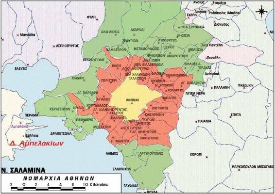 Χάρτης Αθηνών με τις περιοχές που γίνονται παραδόσεις από την Κάβα Οινότυπο.